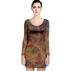 Abstract Colorful Art Design Long Sleeve Velvet Bodycon Dress