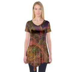 Abstract Colorful Art Design Short Sleeve Tunic
