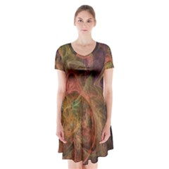 Abstract Colorful Art Design Short Sleeve V Neck Flare Dress