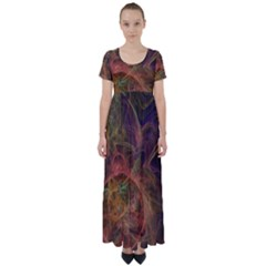Abstract Colorful Art Design High Waist Short Sleeve Maxi Dress