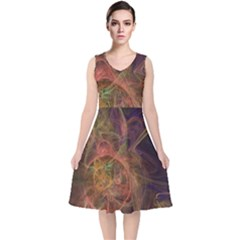 Abstract Colorful Art Design V Neck Midi Sleeveless Dress
