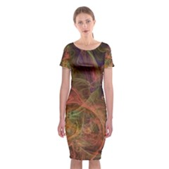 Abstract Colorful Art Design Classic Short Sleeve Midi Dress