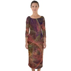 Abstract Colorful Art Design Quarter Sleeve Midi Bodycon Dress by Nexatart