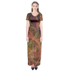 Abstract Colorful Art Design Short Sleeve Maxi Dress
