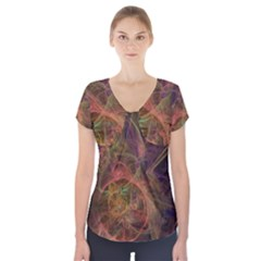 Abstract Colorful Art Design Short Sleeve Front Detail Top