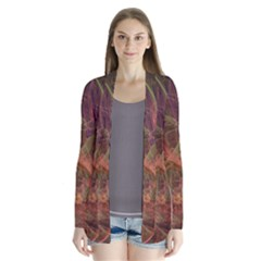 Abstract Colorful Art Design Drape Collar Cardigan