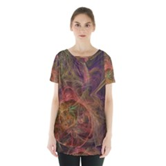 Abstract Colorful Art Design Skirt Hem Sports Top