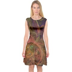 Abstract Colorful Art Design Capsleeve Midi Dress