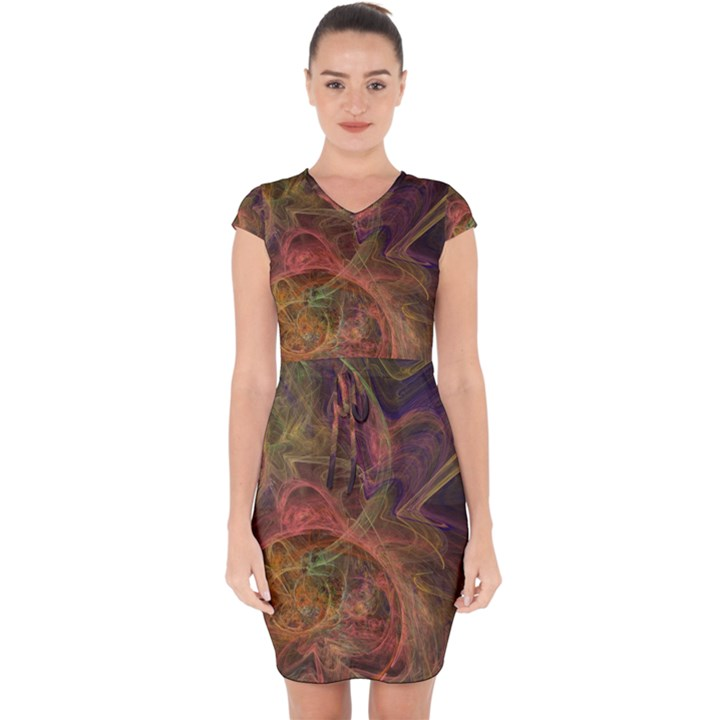 Abstract Colorful Art Design Capsleeve Drawstring Dress