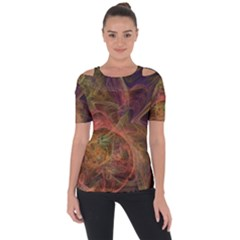 Abstract Colorful Art Design Shoulder Cut Out Short Sleeve Top