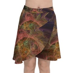 Abstract Colorful Art Design Chiffon Wrap Front Skirt