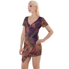 Abstract Colorful Art Design Short Sleeve Asymmetric Mini Dress by Nexatart