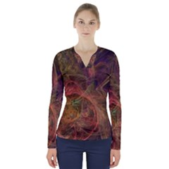 Abstract Colorful Art Design V Neck Long Sleeve Top