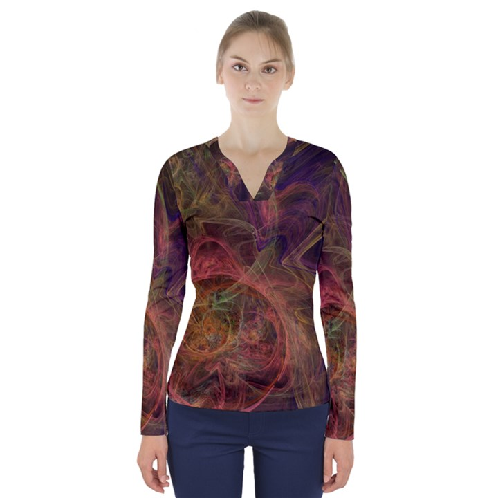 Abstract Colorful Art Design V-Neck Long Sleeve Top