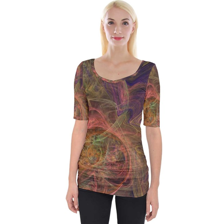 Abstract Colorful Art Design Wide Neckline Tee