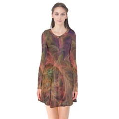 Abstract Colorful Art Design Long Sleeve V Neck Flare Dress
