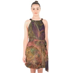 Abstract Colorful Art Design Halter Collar Waist Tie Chiffon Dress