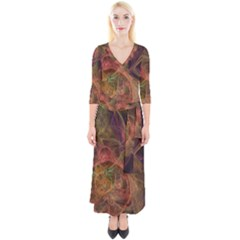 Abstract Colorful Art Design Quarter Sleeve Wrap Maxi Dress