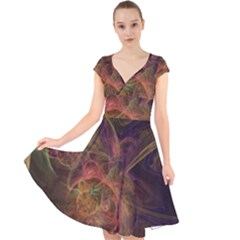 Abstract Colorful Art Design Cap Sleeve Front Wrap Midi Dress