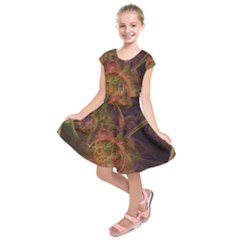 Abstract Colorful Art Design Kids  Short Sleeve Dress