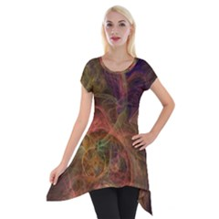 Abstract Colorful Art Design Short Sleeve Side Drop Tunic