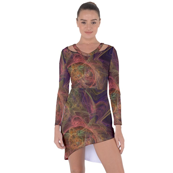 Abstract Colorful Art Design Asymmetric Cut-Out Shift Dress