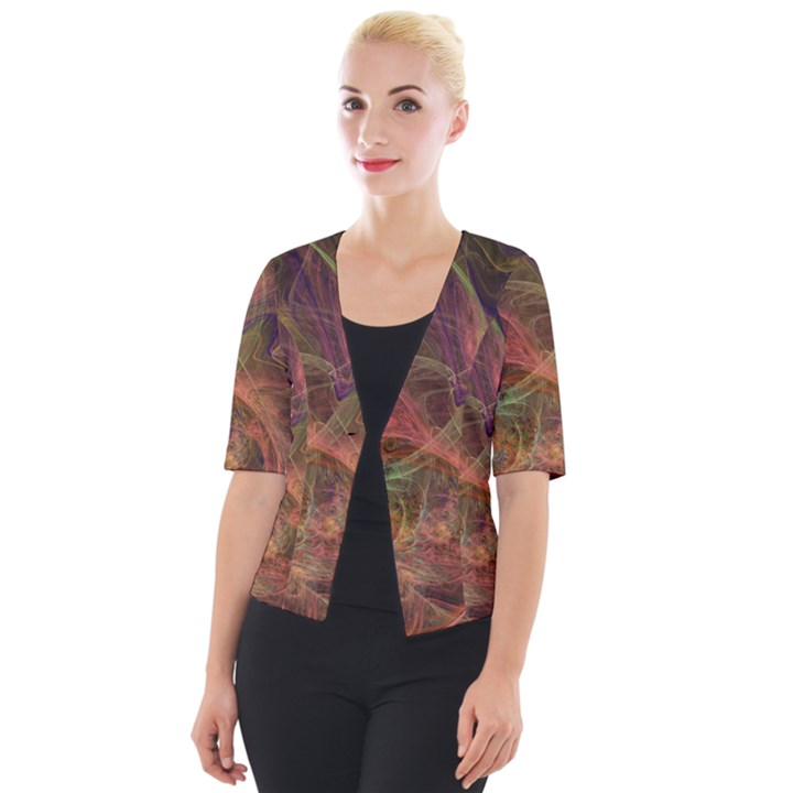 Abstract Colorful Art Design Cropped Button Cardigan
