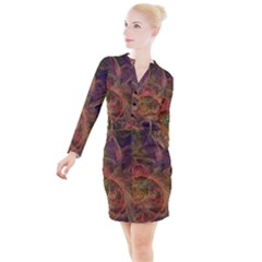 Abstract Colorful Art Design Button Long Sleeve Dress
