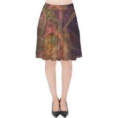 Abstract Colorful Art Design Velvet High Waist Skirt