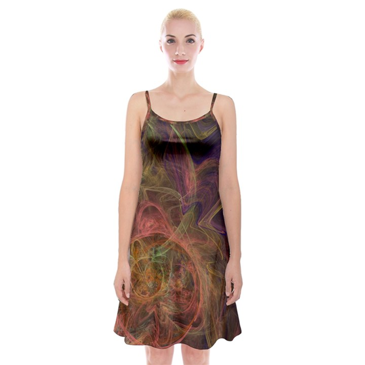Abstract Colorful Art Design Spaghetti Strap Velvet Dress