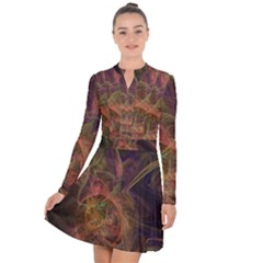 Abstract Colorful Art Design Long Sleeve Panel Dress
