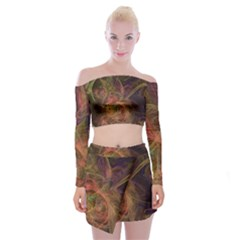 Abstract Colorful Art Design Off Shoulder Top With Mini Skirt Set
