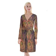 Abstract Colorful Art Design Long Sleeve Velvet Front Wrap Dress