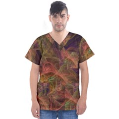 Abstract Colorful Art Design Men s V Neck Scrub Top
