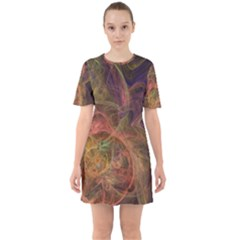Abstract Colorful Art Design Sixties Short Sleeve Mini Dress