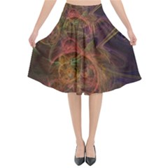 Abstract Colorful Art Design Flared Midi Skirt