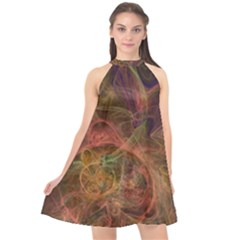 Abstract Colorful Art Design Halter Neckline Chiffon Dress