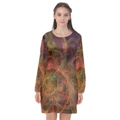 Abstract Colorful Art Design Long Sleeve Chiffon Shift Dress