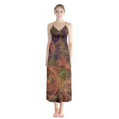 Abstract Colorful Art Design Button Up Chiffon Maxi Dress