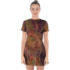 Abstract Colorful Art Design Drop Hem Mini Chiffon Dress