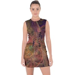 Abstract Colorful Art Design Lace Up Front Bodycon Dress