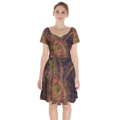 Abstract Colorful Art Design Short Sleeve Bardot Dress