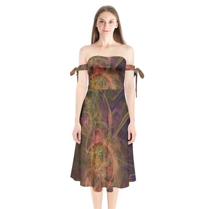 Abstract Colorful Art Design Shoulder Tie Bardot Midi Dress