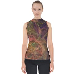 Abstract Colorful Art Design Mock Neck Shell Top