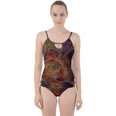 Abstract Colorful Art Design Cut Out Top Tankini Set