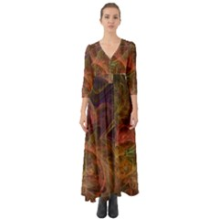 Abstract Colorful Art Design Button Up Boho Maxi Dress