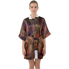 Abstract Colorful Art Design Quarter Sleeve Kimono Robe