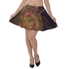 Abstract Colorful Art Design Velvet Skater Skirt