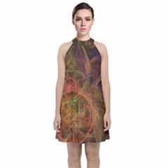 Abstract Colorful Art Design Velvet Halter Neckline Dress