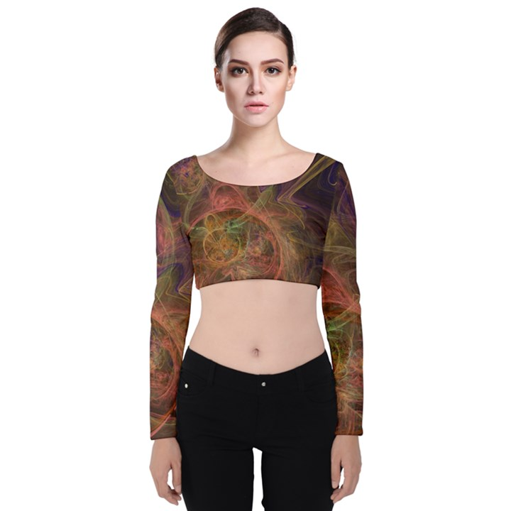 Abstract Colorful Art Design Velvet Long Sleeve Crop Top